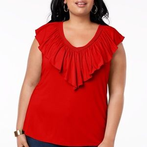 Style & Co Plus Size Ruffle V-Neck Top, Size 3X